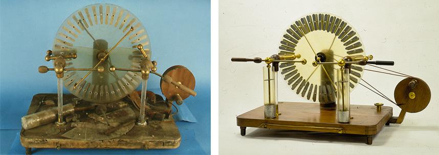 macchina-elettrostatica-di-Wimshurst-prima-e-dopo-il-restauro